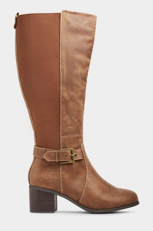 Yours Tan Vegan Faux Suede Buckle Knee High Heeled Boots In Extra Wide Fit