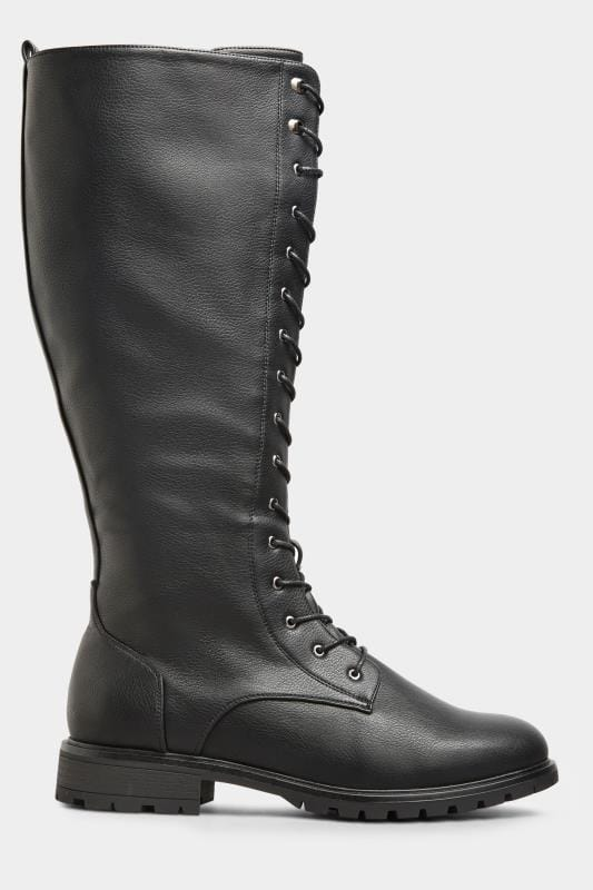 Black Vegan Faux Leather Lace Up Knee High Boots In Extra Wide Fit