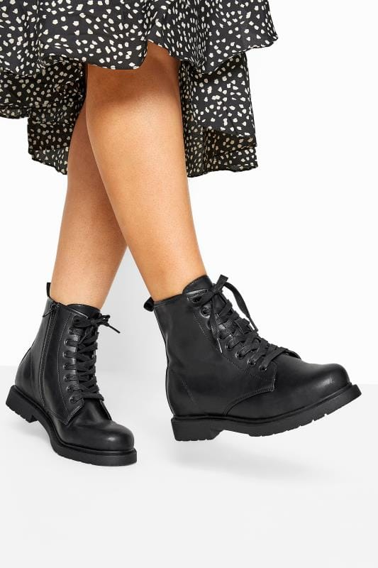 Wide Fit Boots Black Faux Leather Lace Up Ankle Boots In Extra Wide Fit