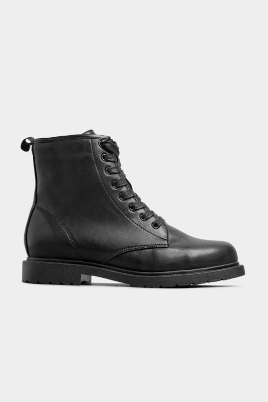 Black Vegan Faux Leather Lace Up Ankle Boots In Extra Wide Fit