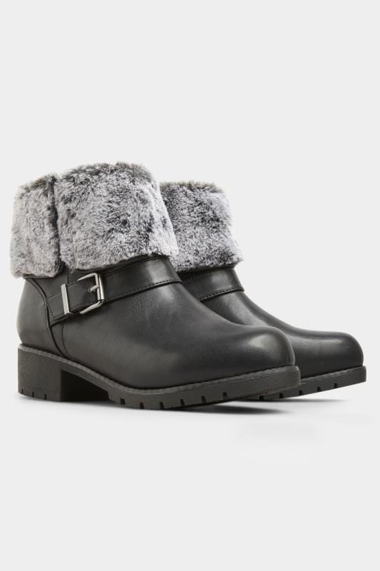 Black Faux Fur Cuff Ankle Boots In Extra Wide Fit