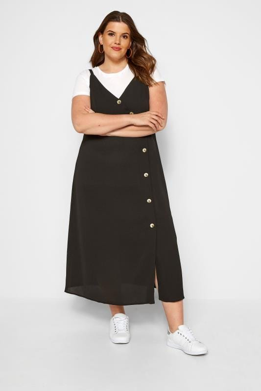 Plus Size Midi Dresses Black Button Up Maxi Dress