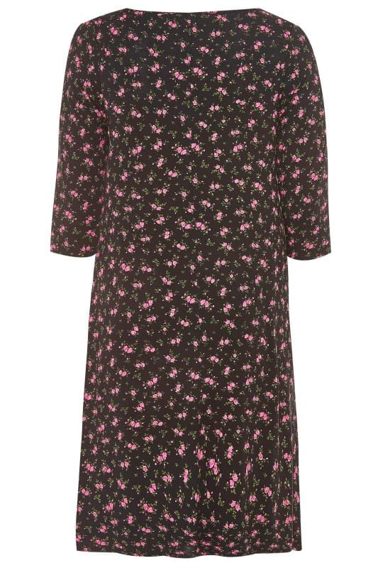 Black Ditsy Floral Swing Dress