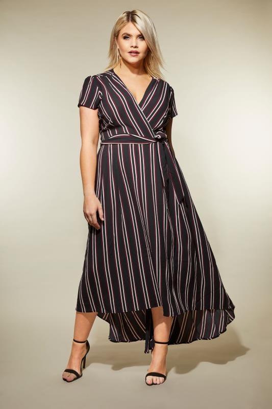 AX PARIS CURVE Black Stripe Wrap Dress, Plus size 16 to 26