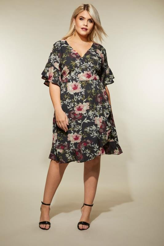 AX PARIS CURVE Black Floral Ruffle Dress