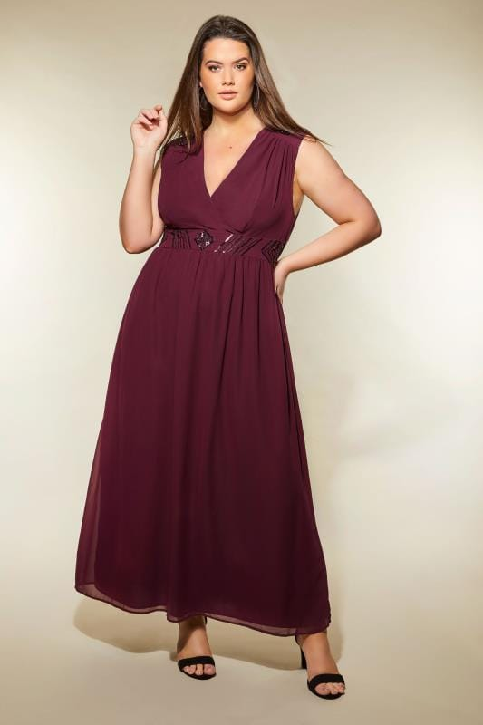 AX PARIS CURVE Dark Purple Sequin Embellished Maxi Dress, Plus size 16 to 36
