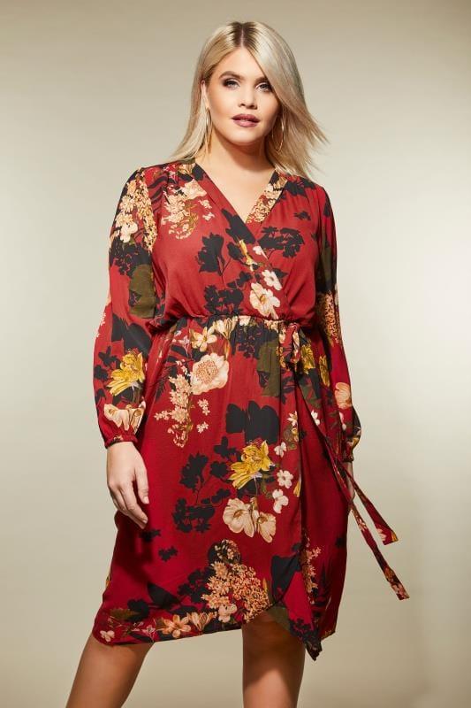 AX PARIS CURVE Red Floral Wrap Dress