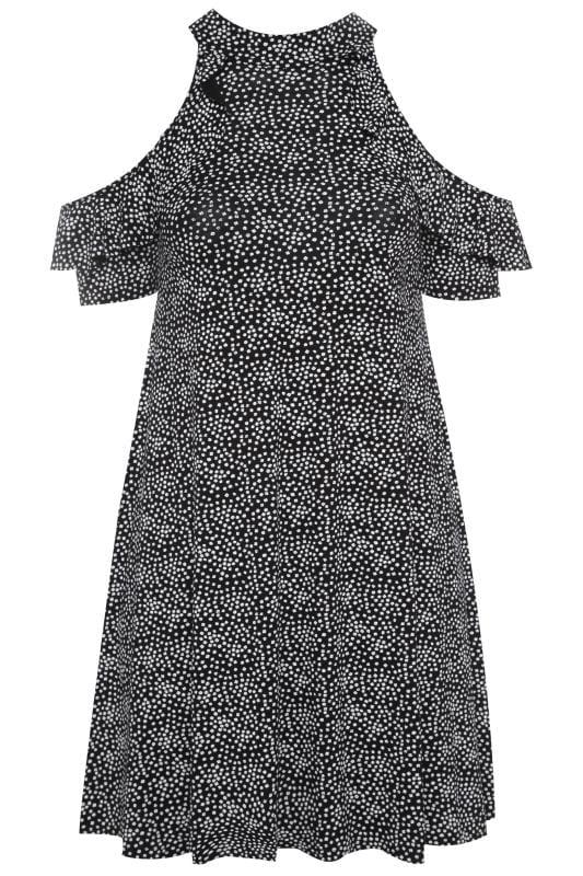 LIMITED COLLECTION Black Floral Cold Shoulder A-Line Dress