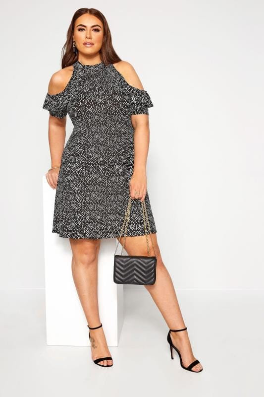 LIMITED COLLECTION Black Floral Cold Shoulder A-Line Dress