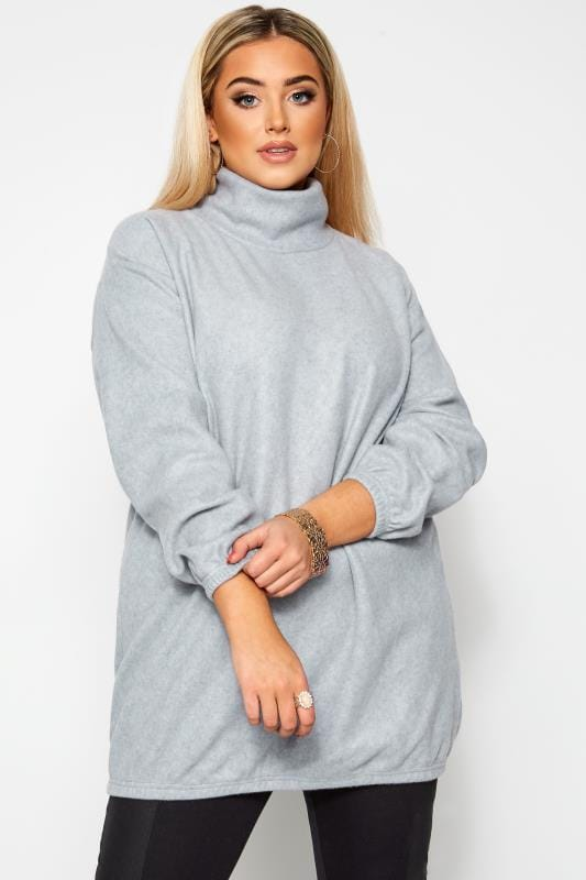 Plus Size Jumpers LIMITED COLLECTION Grey Fleece Longline Jumper