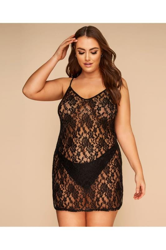 Plus Size Sexy Lingerie LIMITED COLLECTION Black All Over Lace Slip Dress