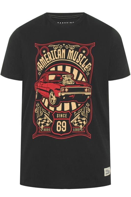 Plus Size T-Shirts BadRhino Black 'American Muscle' Graphic T-Shirt