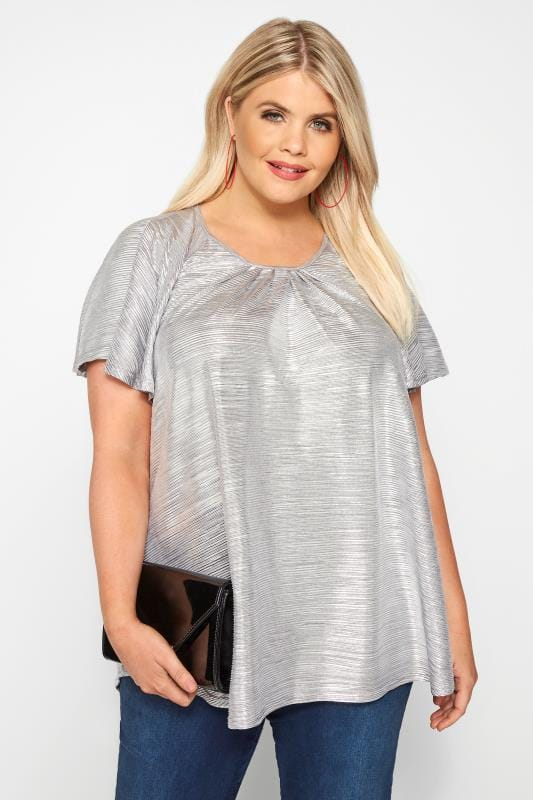Большие размеры | Day Tops SIZE UP Silver Metallic Plisse Top