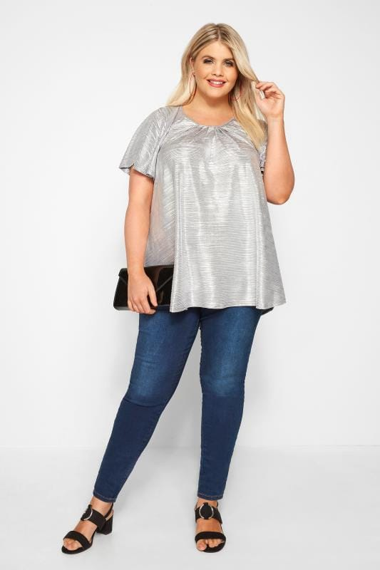 SIZE UP Silver Metallic Plisse Top