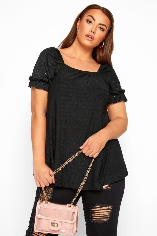 LIMITED COLLECTION Black Broderie Anglaise Square Neck Top