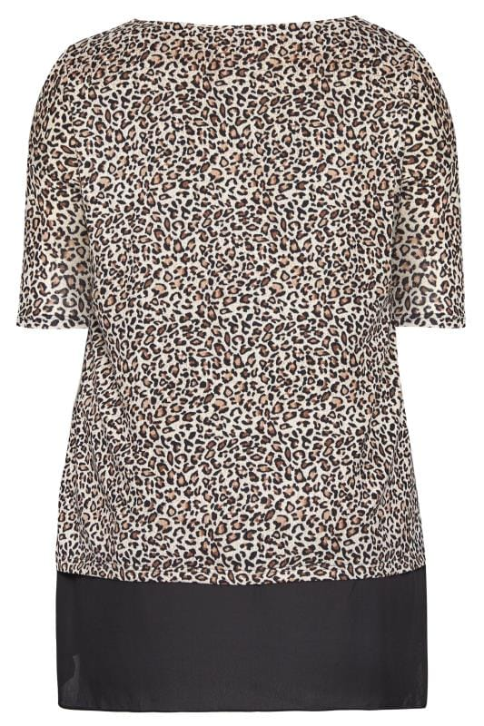 YOURS LONDON Brown Leopard Print Double Layered Top