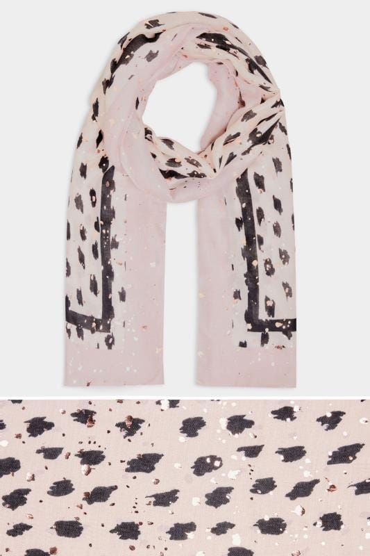 Yours Pink Animal Print Foil Scarf