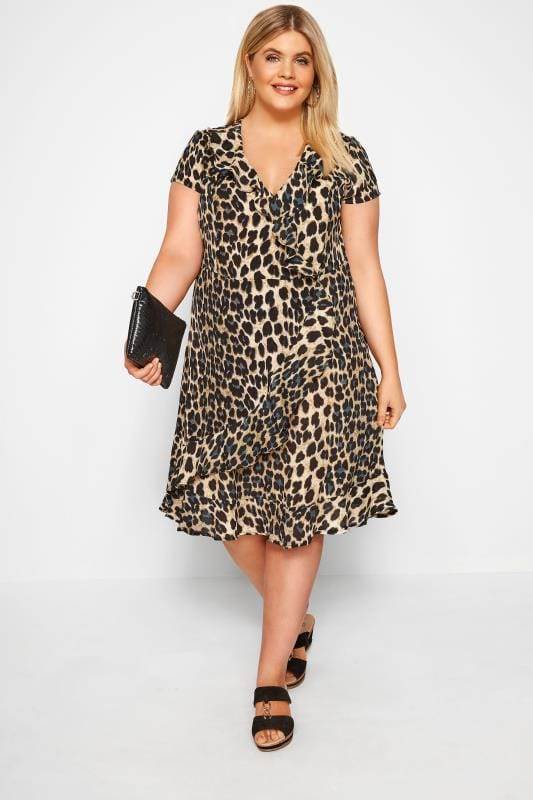 Brown & Blue Leopard Print Frill Wrap Dress