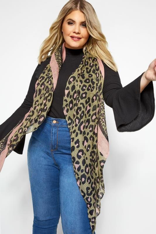 Plus Size Scarves Khaki Animal Print Scarf