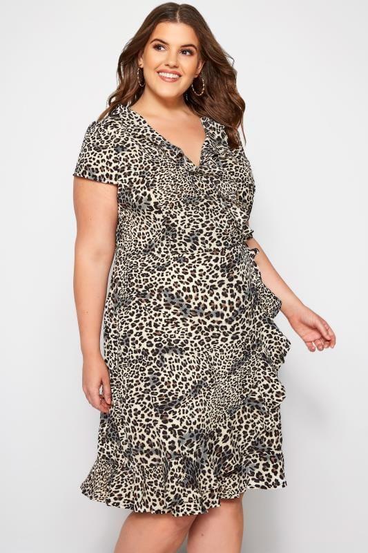 Brown Leopard Print Frill Wrap Dress