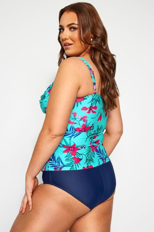 Aqua Blue Tropical Twist Tankini Top