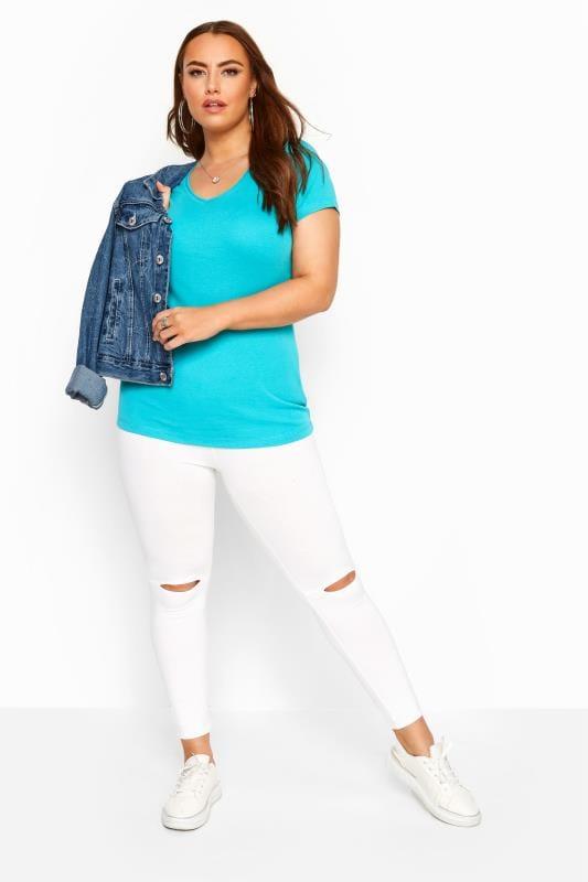 Aqua Blue V-Neck Plain T-Shirt