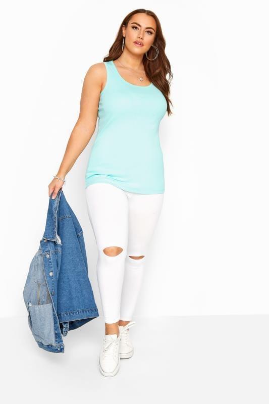 Aqua Blue Vest Top