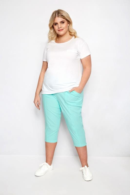 Aqua Cotton Cropped Trousers