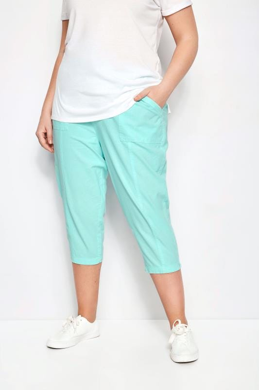 Plus Size Cropped Trousers Aqua Cotton Cropped Trousers