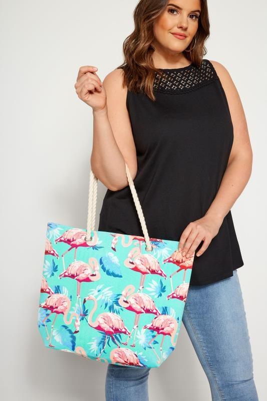 Aqua Flamingo Print Beach Bag