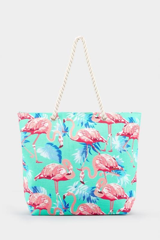 Aqua Flamingo Print Beach Bag One Size Yours Clothing