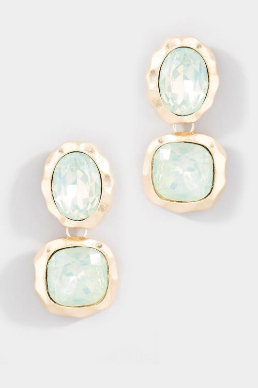 Gold Aqua Stone Drop Earrings