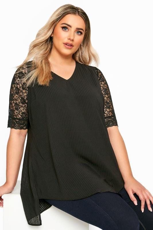 Black Lace Front Fastening Armwear Top