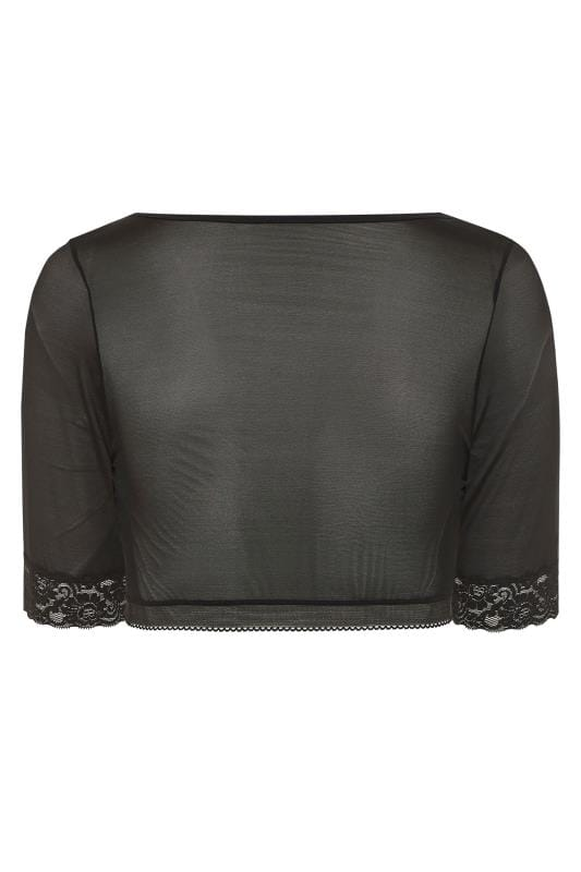 Black Mesh Front Fastening Armwear Top