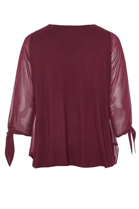 YOURS LONDON Wine Red Chiffon Tie Sleeve Blouse