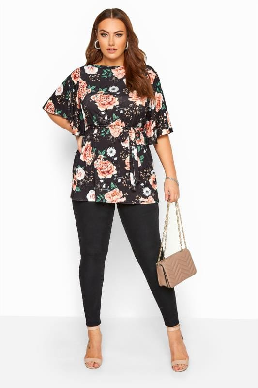 YOURS LONDON Black Floral Slinky Belted Top