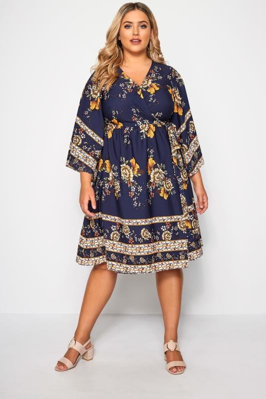 YOURS LONDON Wickel-Kleid im floralen Muster - Navy