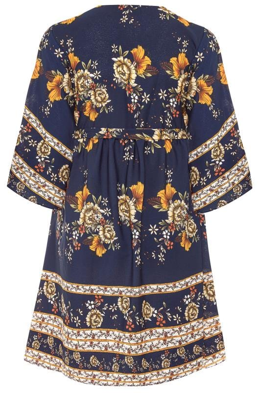 YOURS LONDON Navy Floral Autumn Wrap Dress