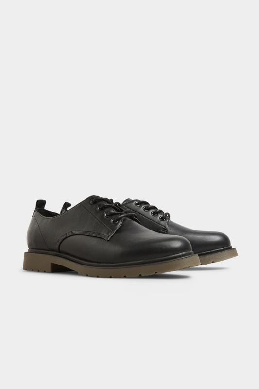 Black Faux Leather Lace Up Brogues In Extra Wide Fit