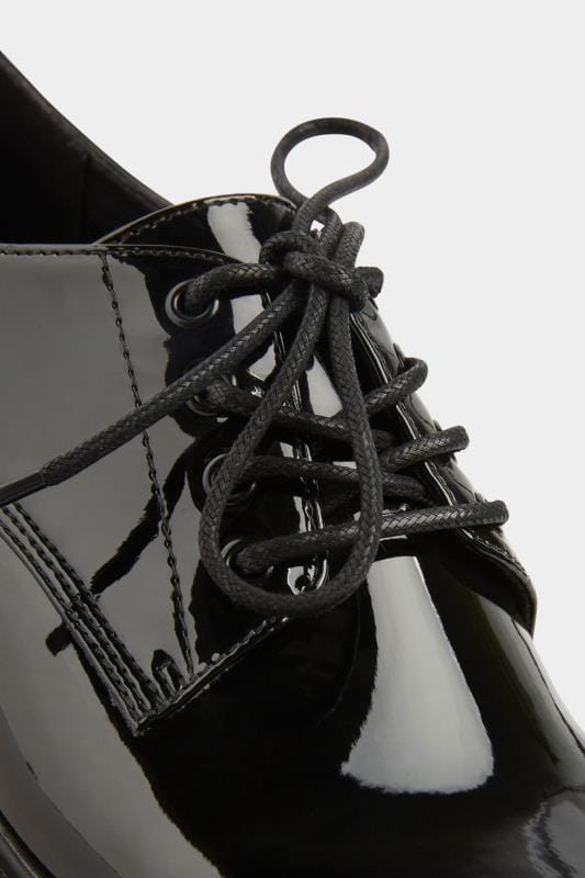 Black Patent Lace Up Brogues In Extra Wide Fit