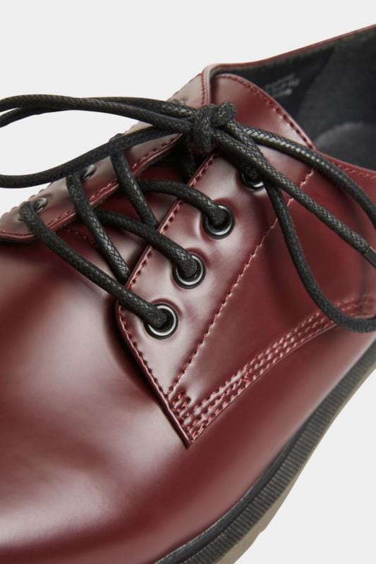 Burgundy Vegan Leather Lace Up Brogues In Extra Wide Fit