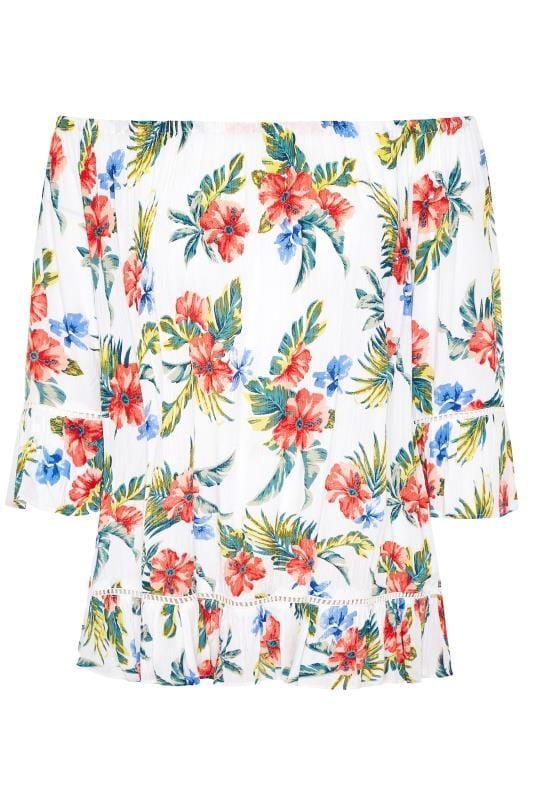 White Floral Print Bardot Top