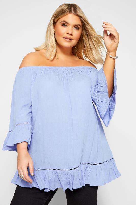Plus-Größen Beauty Cornflower Blue Bardot Gypsy Top