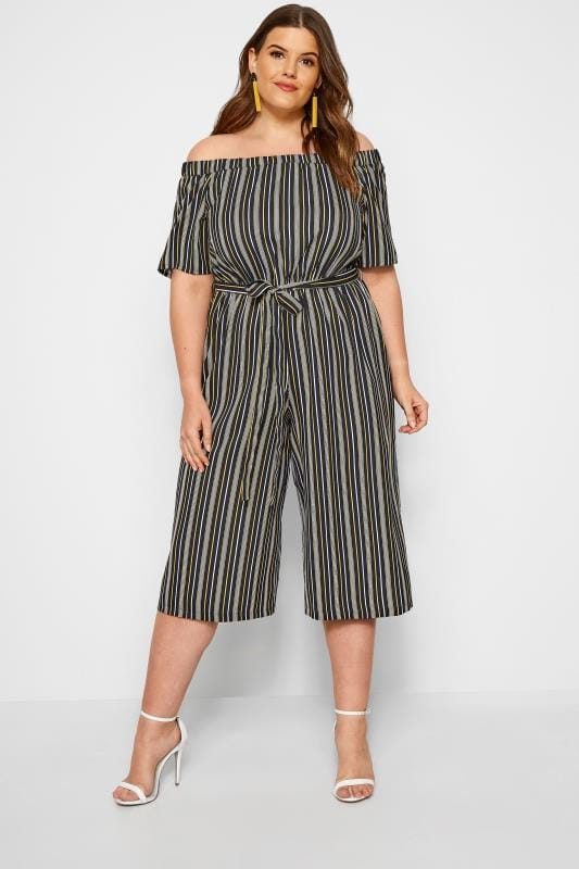 Plus Size Jumpsuits Black & Yellow Striped Bardot Culotte Jumpsuit