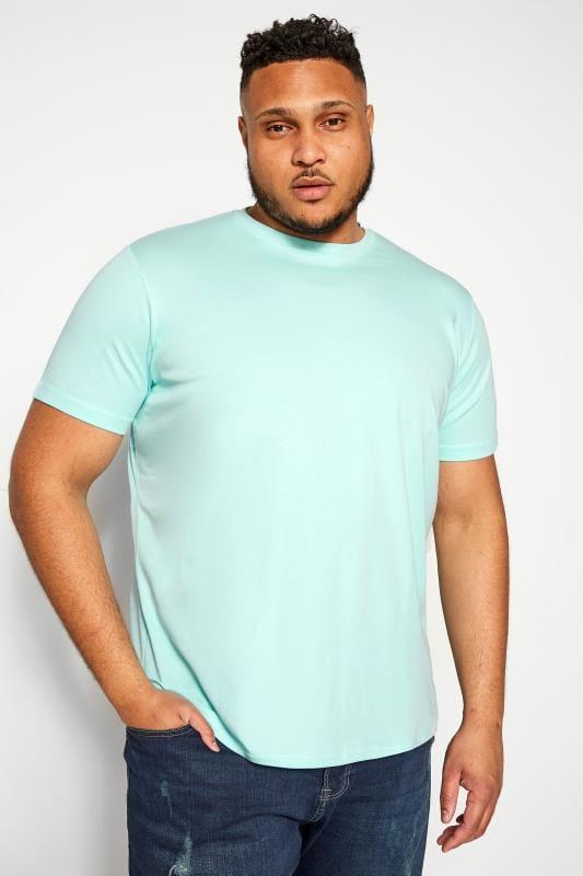 Plus Size T-Shirts BAR HARBOUR Aqua Blue Plain Crew Neck T-Shirt