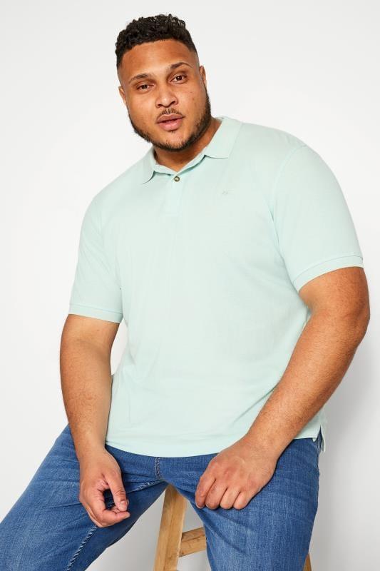 Plus Size Polo Shirts BAR HARBOUR Aqua Blue Polo Shirt