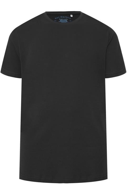 Plus Size T-Shirts BAR HARBOUR Black Plain Crew Neck T-Shirt