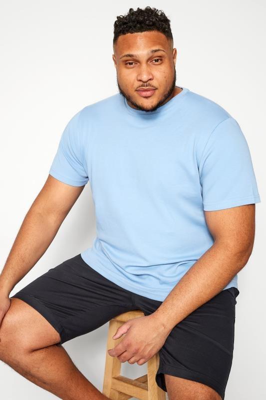 T-Shirts BAR HARBOUR Cornflower Blue Plain Crew Neck T-Shirt 203312