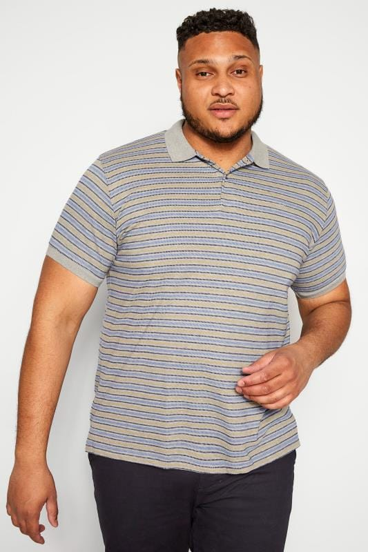 Plus Size Polo Shirts BAR HARBOUR Grey Stripe Polo Shirt