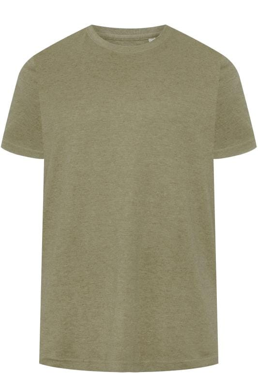 Plus Size T-Shirts BAR HARBOUR Khaki Green Plain Crew Neck T-Shirt